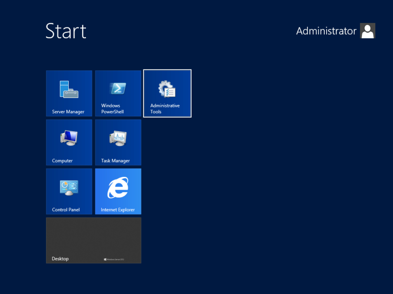 Administrative Tools at Start screen