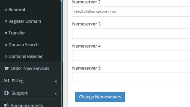 Nameserver Management in Hosting Dashboard