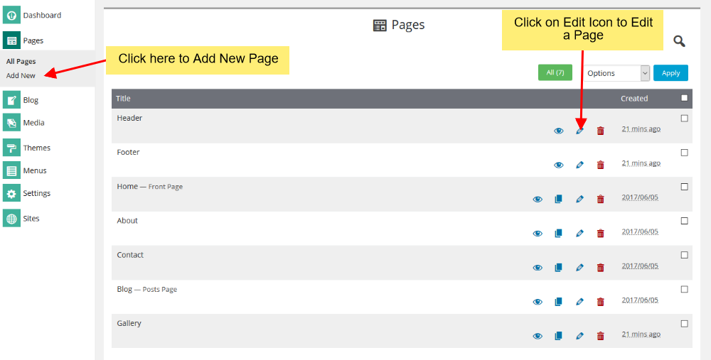 Edit page delete page