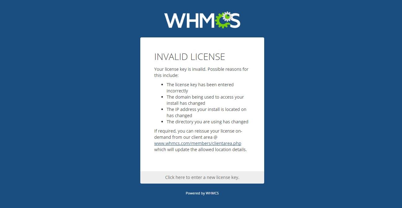 Screen image of WHMCS License Error
